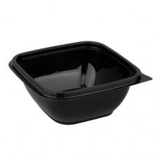 Контейнер пластиковый одноразовый, черный, 126х126х51 мм, 375 мл