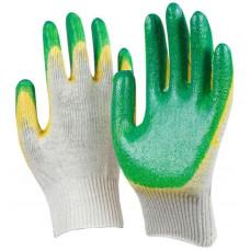 Перчатки трикотажные с двойным латексным обливом, зеленые