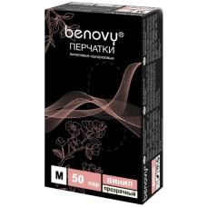 Перчатки виниловые Benovy (Бенови), прозрачные, размер M, 50 пар