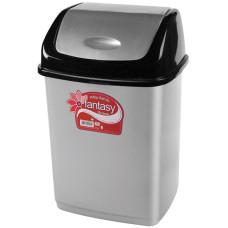 Ведро для мусора пластмассовое с плавающей крышкой Фантазия, цвет черно- серебряный, 23х19х36 см, 10 л