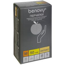 Перчатки медицинские смотровые латексные Benovy (Бенови), гладкие, размер M, 50 пар