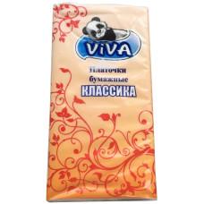 Платочки бумажные Viva (Вива) Классические, 2-х слойные, 10 уп из 10 платочков