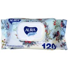 Влажные салфетки для всей семьи Aura (Аура) Антибактериальные с крышкой, 120 шт