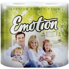 Туалетная бумага Мягкий знак Emotion, 3-х слойная, белая, 4 рулона
