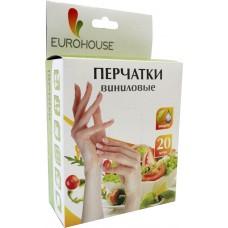 Перчатки виниловые ЕвроХаус, размер L, 10 пар