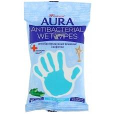 Влажные салфетки Aura (Аура) Антибактериальные Алоэ, 15 шт