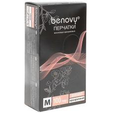 Перчатки виниловые Benovy (Бенови), прозрачные, размер M, 100 пар