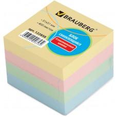 Блок самоклеящийся (стикер) Brauberg (Брауберг), пастельный, 51х51 мм, 4 цвета, 400 листов