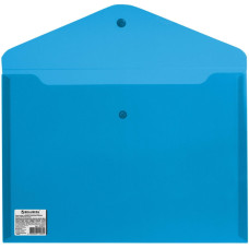 Папка-конверт с кнопкой Brauberg (Брауберг), прозрачная, синяя, А4, до 100 листов