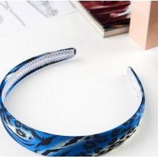 Ободок для волос Мари, синий, леопард, 2,5 см