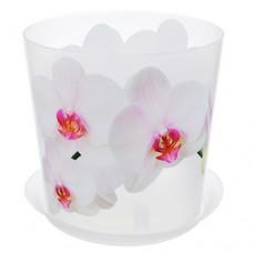Горшок для орхидеи пластиковый Деко, д=12,5 см, h=12,5 см, орхидея белая, 1,2 л