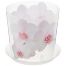 Горшок для цветов и орхидеи пластиковый Деко, д=16 см, h=15,5 см, орхидея белая, 2,4 л