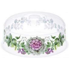 Крышка пластиковая для СВЧ Деко, каменная роза, д22 см, h10 см