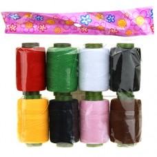 Нитки цветные, набор 8 штук в упаковке