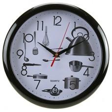 Часы настенные пластмассовые Кухня (цвет черный) мягкий ход, циферблат фотопечать, д26,5х1,5 см