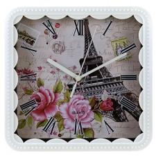 Часы настенные пластмассовые Париж (цвет белый) мягкий ход, циферблат фотопечать, 21,5х21,5х1,3 см