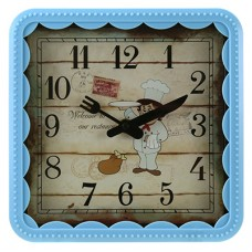 Часы настенные пластмассовые Повар (цвет голубой) мягкий ход, циферблат фотопечать, 21,5х21,5х1,3 см