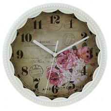 Часы настенные пластмассовые Цветы (цвет белый) мягкий ход, циферблат фотопечать, 22х1,3 см