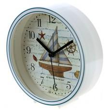 Часы-будильник пластмассовые Кораблик, циферблат фотопечать, цвет белый, д13х4 см