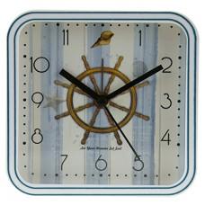 Часы-будильник пластмассовые Штурвал, циферблат фотопечать, цвет белый, 12х12х4 см
