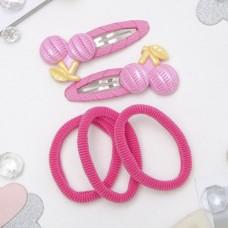 Набор для волос Мусечка вишенки, розовый  (2 невидимки, 3 резинки)