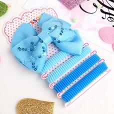 Набор для волос Малютка, пайетки голубой (4 резинки, 1 зажим)