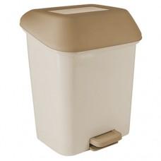 Ведро для мусора с педалью пластиковое Квадра Svip, с внутренним ведром, цвет кофейный, 28х28х41 см, 15 л