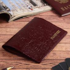Обложка для паспорта Пионы, шик спилок, тисн.фольга, цвет бордовый, 9,5х1х13,5 см