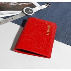 Обложка для паспорта Пионы, шик спилок, тисн.фольга, цвет алый, 9,5х0,5х13,8 см