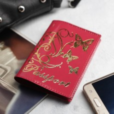 Обложка для паспорта Вальс, шик спилок, тисн.фольга, цвет розовый, 9,5х0,5х13,8 см