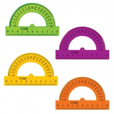Транспортир пластиковый Стамм, тонированный, ассорти 4 цвета, 8 см, 180 градусов