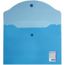 Папка-конверт с кнопкой Brauberg (Брауберг) малого формата (240х190 мм), А5, прозрачная, синяя, 0,18 мм
