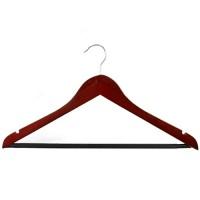 Вешалка-плечики Классическая, дерево, лаковое темное покрытие, металлический поворотный крючок, антискользящая перекладина, р50-52, 43х21 см