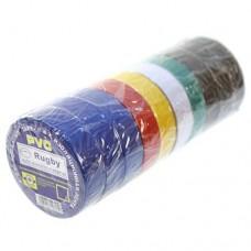 Изолента ПВХ, 20 м, 17 мм, набор 10 штук (синий-3шт/черный-3шт/красный/желтый/зеленый/белый)