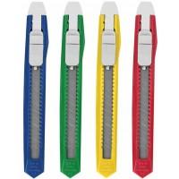 Нож канцелярский Staff (Стафф) Basic Economy, фиксатор, клип, корпус ассорти, 9 мм