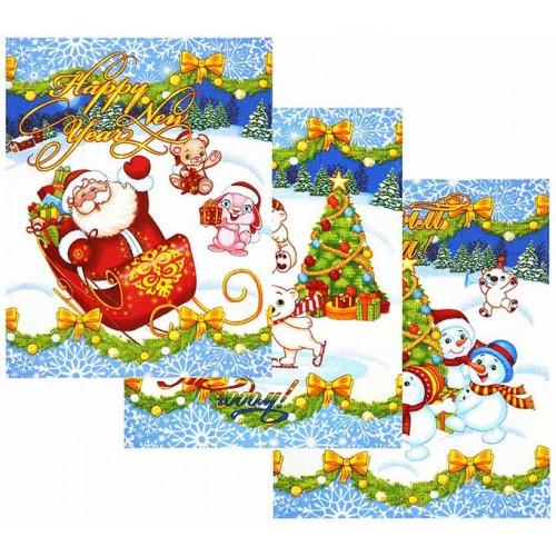 Кухонное полотенце рогожка Зимняя сказка 48х62 см набор 3 шт