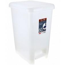 Ведро для мусора с педалью пластмассовое Слим, цвет белый, 60 л