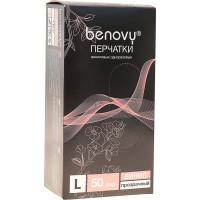 Перчатки виниловые Benovy (Бенови), прозрачные, размер L, 50 пар