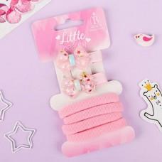 Набор для волос Карамелька, бантик, цвет розовый: 2 зажима, 4 резинки
