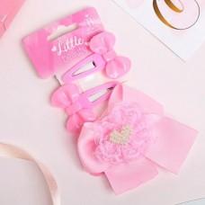 Набор для волос Бантики, сердечко, цвет розовый: 2 невидимки, 1 зажим