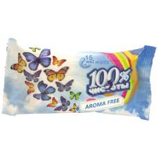 Влажные салфетки 100% Чистоты Без запаха, 15 шт