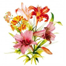 Салфетки сервировочные Fresco (Фреско) Лилии, 33х33 см, 20 шт