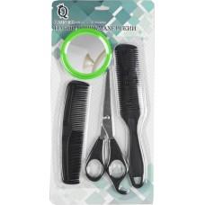 Набор парикмахерский 4 предмета: ножницы 15,5 см, ножницы филировочные 18 см, расческа комбинированная 13,5 см, зеркало d6 см