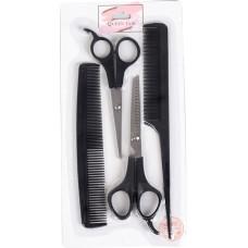 Набор парикмахерский 4 предмета: ножницы 14 см, ножницы филировочные 16 см, расческа 21,5 см, расческа комбинированная 16,8 см