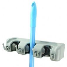 Держатель для швабр пластиковый настенный со складными крючками, 26х8 см
