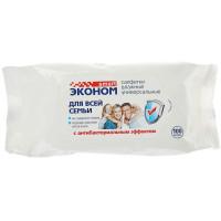 Влажные салфетки антибактериальные универсальные Smart (Смарт) Эконом для всей семьи, 100 шт