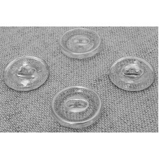 Пуговица декоративная на 2 прокола, цвет прозрачная с серебром, 12 мм
