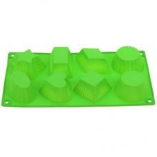Форма силиконовая для выпекания Ассорти на 8 штук, цвета микс, 29,5х16 см, h3,5 см