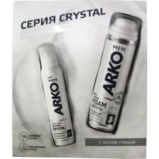 Подарочный набор для мужчин Arko (Арко) Men Crystal: Пена для бритья 200 мл + Дезодорант 150 мл