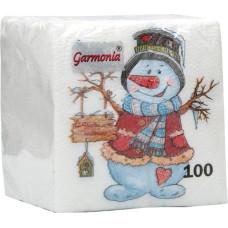 Салфетки сервировочные Гармония Снеговичок, 100 шт
